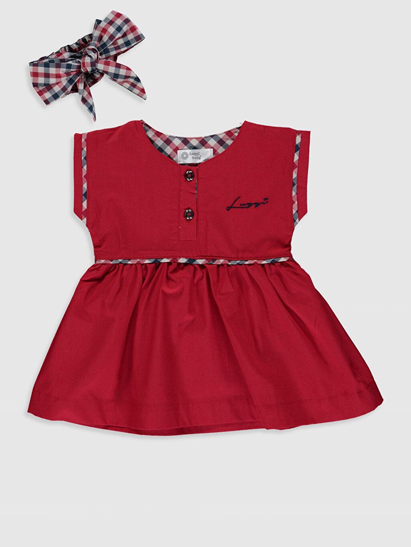 Kırmızı Luggı Baby Yenidoğan Elbise ve Saç Bandı 0ST409Z3 LC Waikiki