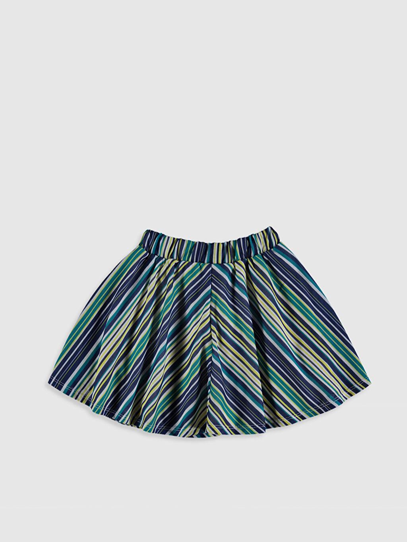 %100 Polyester %100 Pamuk Etek Çizgili Kız Çocuk Kloş Etek