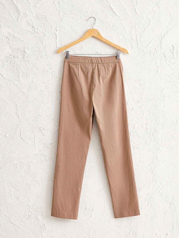 %78 Poliester %20 Poliamid %2 Elastane Düz Pantolon Düz Beli Lastikli Düz Paça Pantolon