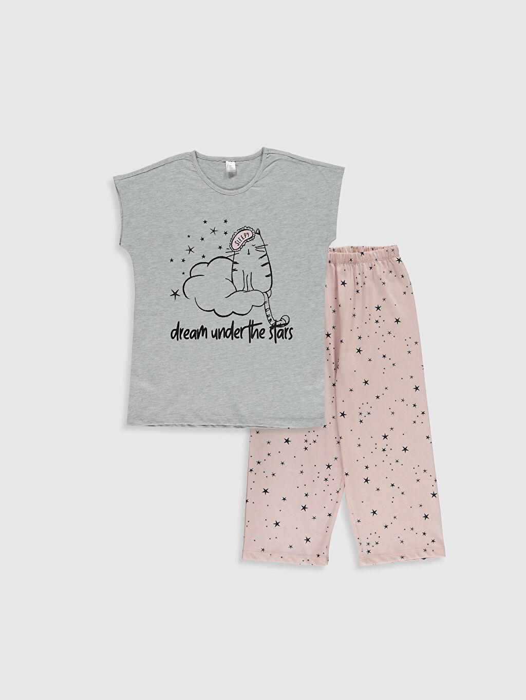 Gri Kız Çocuk Baskılı Pamuklu Pijama Takımı 0ST770Z4 LC Waikiki