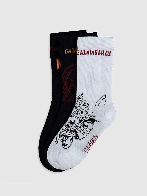 Çok Renkli Erkek Çocuk Galatasaray Baskılı Soket Çorap 3'Lü 0SU012Z4 LC Waikiki