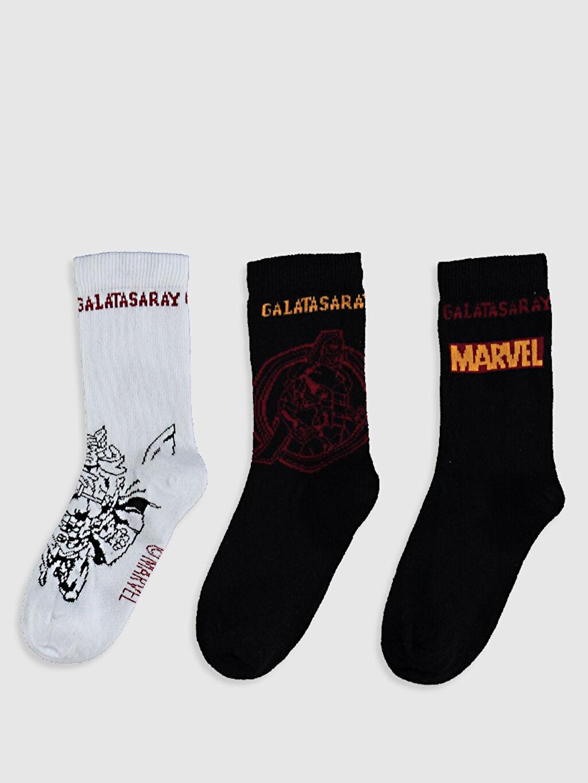 %77 Pamuk %22 Poliamid %1 Elastan Kendinden Desenli Dikişli Soket Çorap Diğer Orta Kalınlık Erkek Çocuk Galatasaray Baskılı Soket Çorap 3'Lü