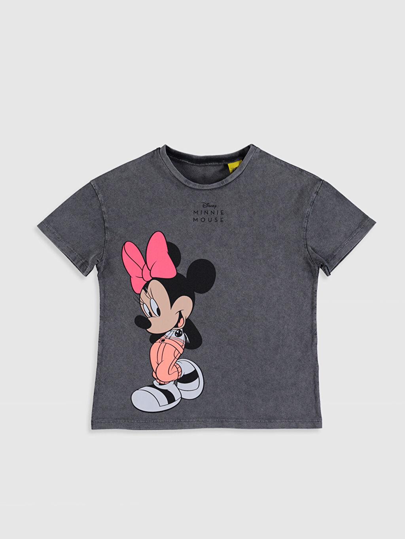 Antrasit Kız Çocuk Minnie Mouse Baskılı Pamuklu Tişört 0SU042Z4 LC Waikiki