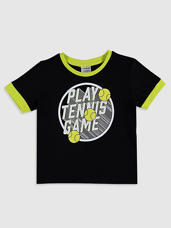 Siyah Erkek Çocuk Baskılı Pamuklu Tişört 0SU048Z4 LC Waikiki