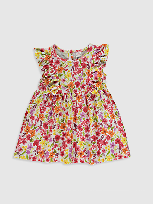 Ekru Kız Bebek Baskılı Elbise 0SU200Z1 LC Waikiki
