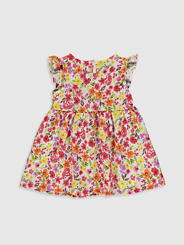 %68 Pamuk %32 Polyester İnce Baskılı Süprem Elbise Kısa Kol Standart Günlük Bisiklet Yaka Kız Bebek Baskılı Elbise