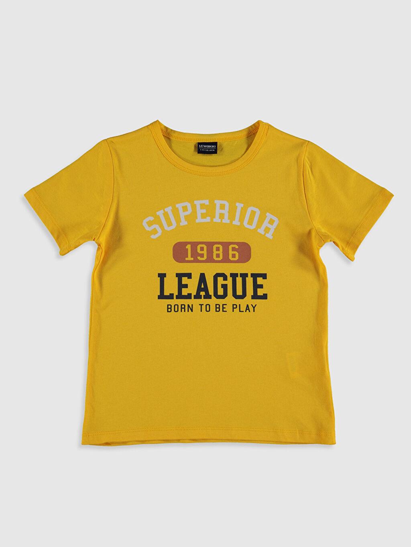 Sarı Erkek Çocuk Baskılı Pamuklu Tişört 0SU305Z4 LC Waikiki