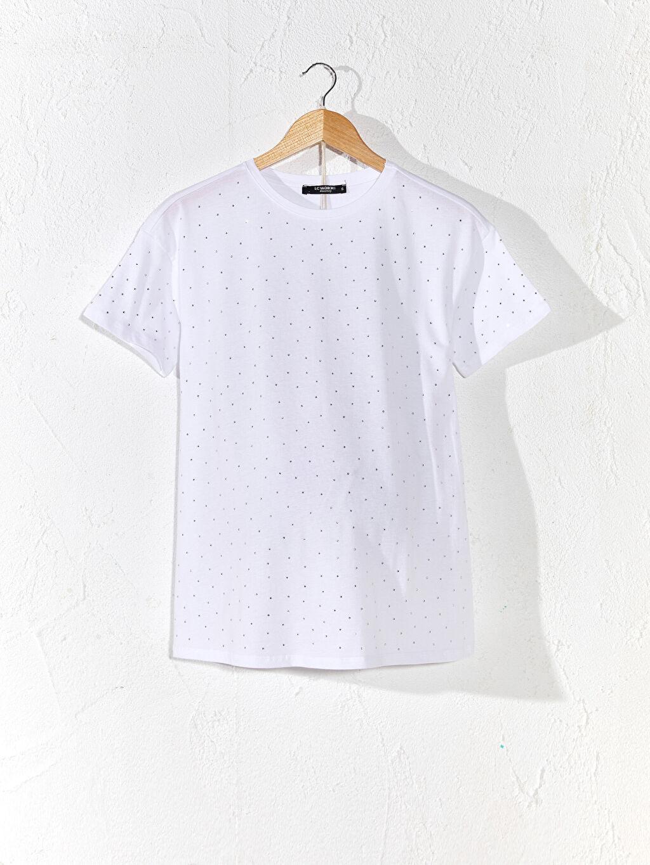 Beyaz Işıltılı Pamuklu Hamile Tişört 0SU341Z8 LC Waikiki