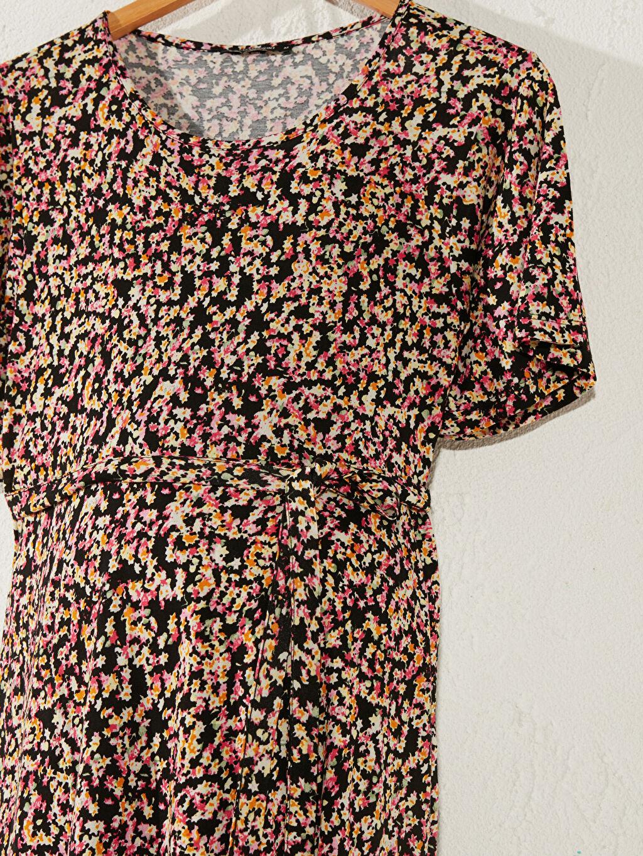 Kadın Çiçek Desenli Kuşaklı Viskon Hamile Elbise
