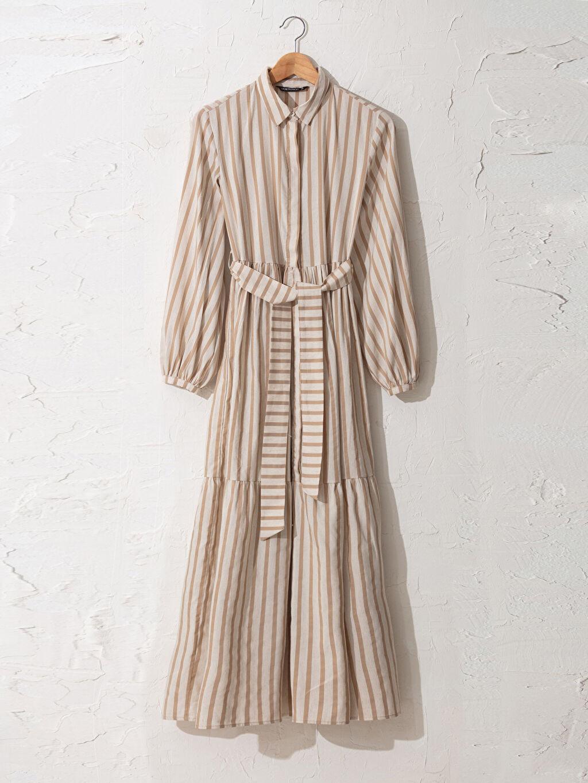 Bej Çizgili Kuşaklı Uzun Gömlek Elbise 0SU466Z8 LC Waikiki