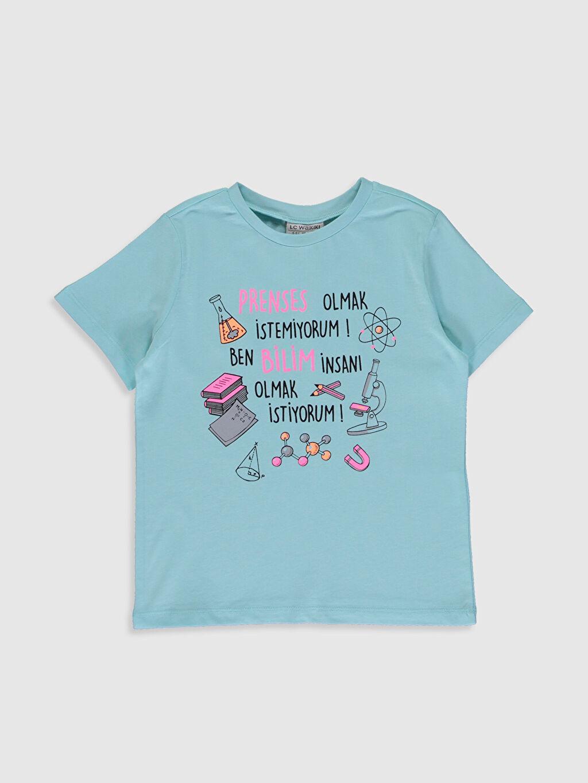 Yeşil Kız Çocuk Baskılı Pamuklu Tişört 0SU569Z4 LC Waikiki