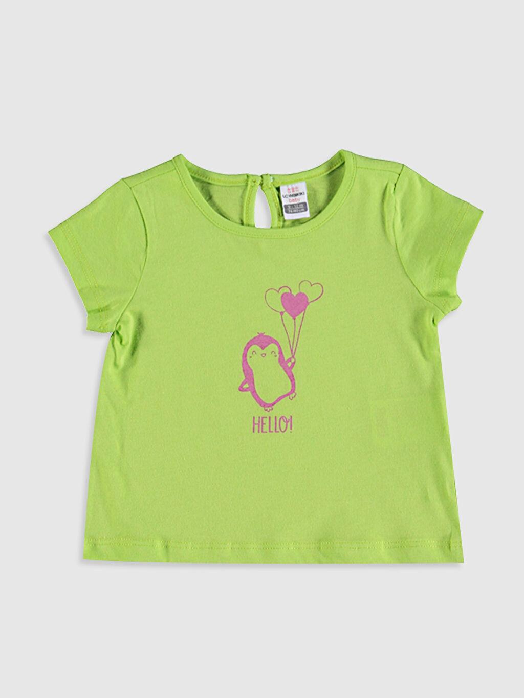 Yeşil Kız Bebek Baskılı Tişört 0SU601Z1 LC Waikiki