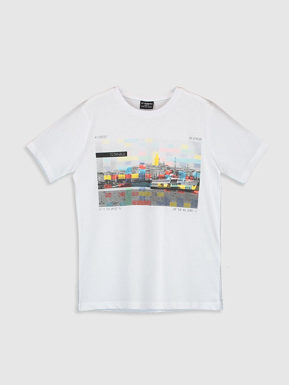 Beyaz Erkek Çocuk İstanbul Temalı Pamuklu Tişört 0SU648Z4 LC Waikiki