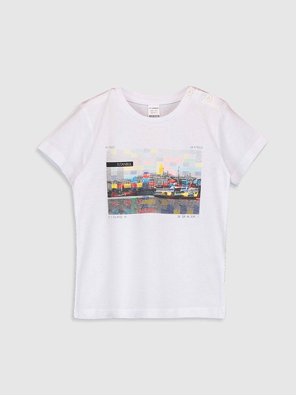 Beyaz Erkek Bebek Baskılı Pamuklu Tişört 0SU649Z1 LC Waikiki