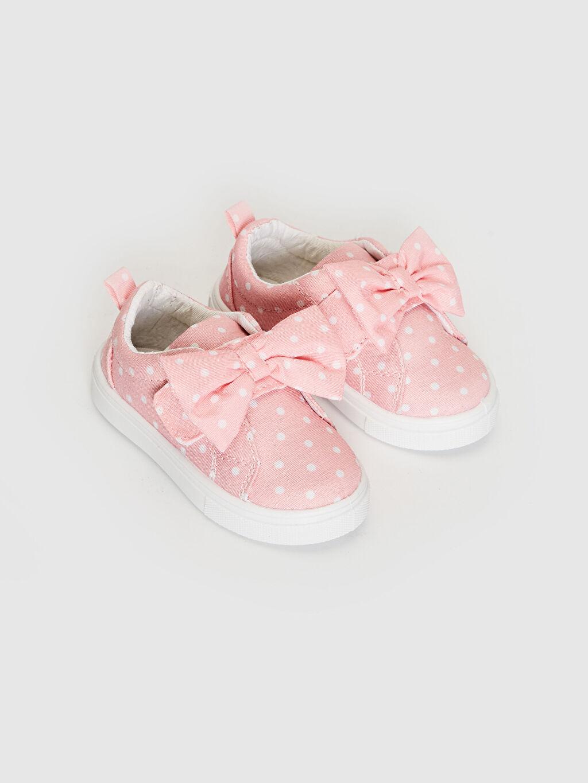 Işıksız Sneaker Polyester Astar Cırt Cırt Kız Bebek Fiyonk Detaylı Puantiyeli Sneaker