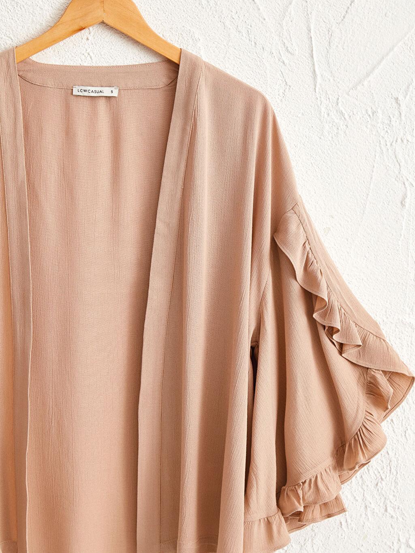 Kadın Kolları Fırfırlı Viskon Kimono