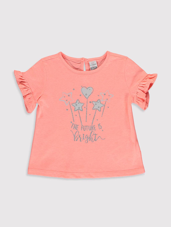 %51 Pamuk %49 Polyester Tişört Bisiklet Yaka Günlük Kısa Kol A Kesim Süprem Standart Baskılı Kız Bebek Baskılı Pamuklu Tişört