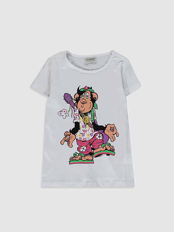 Beyaz Kız Çocuk Baskılı Pamuklu Tişört 0SV120Z4 LC Waikiki