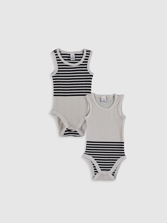 Ekru Erkek Bebek Çizgili Çıtçıtlı Body 2'li 0SV231Z1 LC Waikiki