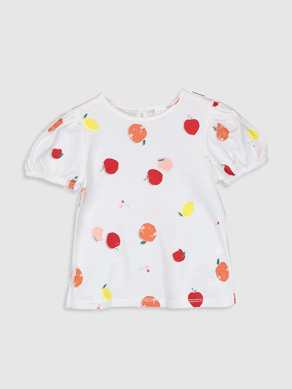 Ekru Kız Bebek Baskılı Pamuklu Tişört 0SV565Z1 LC Waikiki