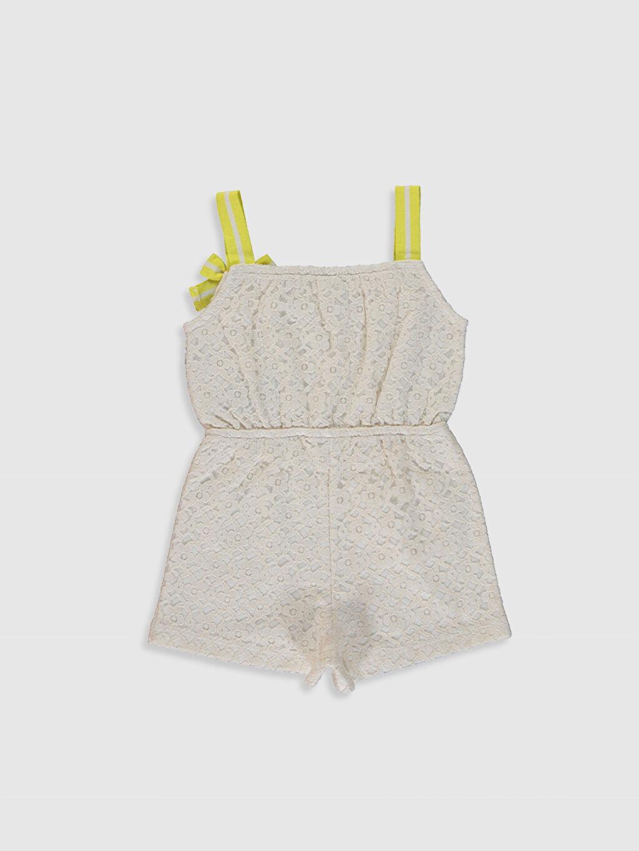%69 Pamuk %31 Polyester %100 Pamuk Askılı Kare Yaka Günlük Düz A Kesim Salopet Süprem Standart Kız Bebek Dantelli Tulum
