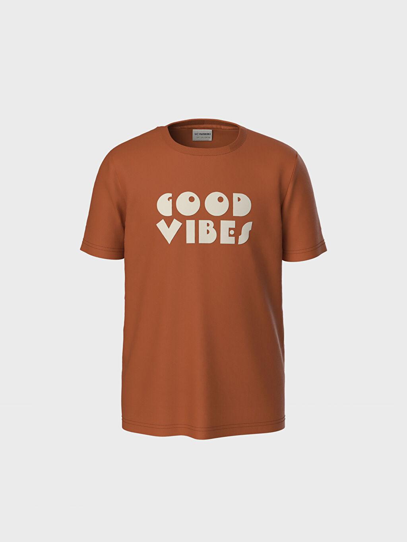 %100 Pamuk Erkek Çocuk Yazı Baskılı Pamuklu Tişört