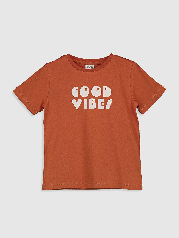 Turuncu Erkek Çocuk Yazı Baskılı Pamuklu Tişört 0SV619Z4 LC Waikiki