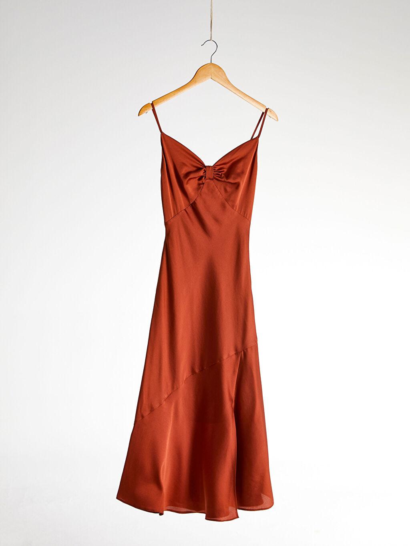 0SV683Z8 Appleline Büzgü Detaylı Askılı Elbise