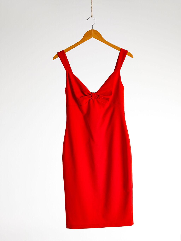 %95 Polyester %5 Elastan Appleline Yakası Büzgü Detaylı Askılı Kalem Elbise