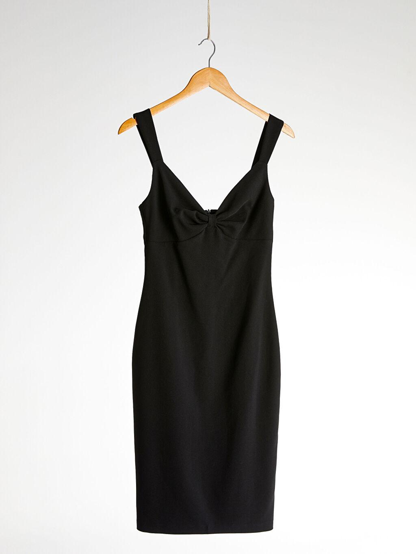 %95 Polyester %5 Elastan %100 Polyester Orta Kalınlık Düz Parti Askılı Elbise Appleline Yakası Büzgü Detaylı Askılı Kalem Elbise