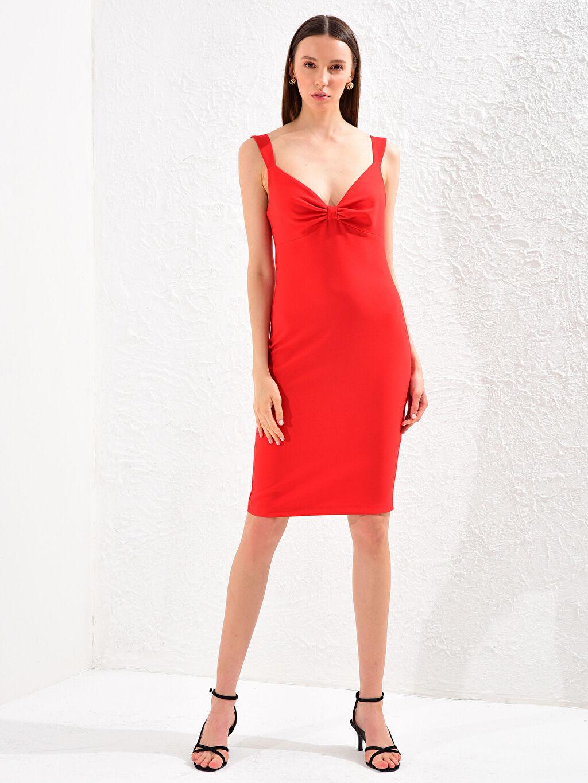 Kırmızı Appleline Yakası Büzgü Detaylı Askılı Kalem Elbise