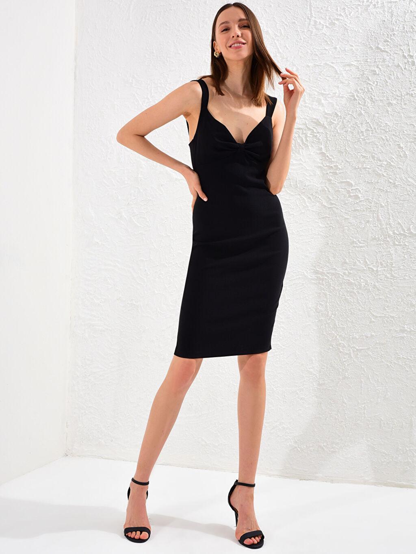 Kadın Appleline Yakası Büzgü Detaylı Askılı Kalem Elbise