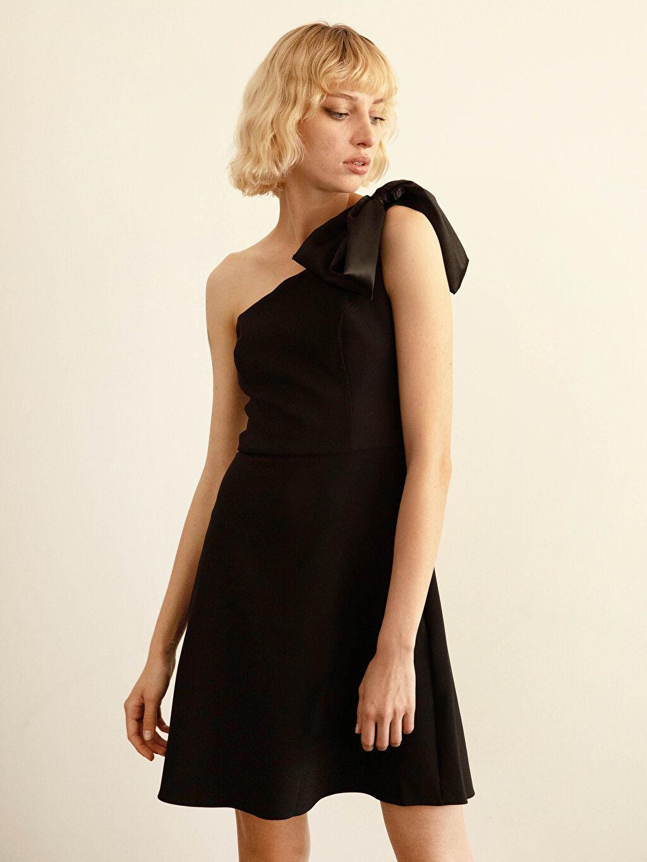 %95 Polyester %5 Elastan Appleline Tek Omuz Detaylı Elbise