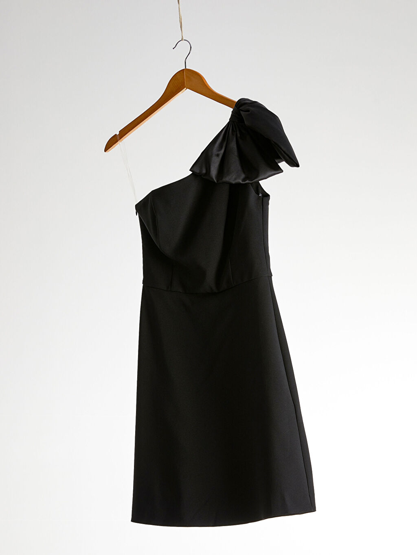 Siyah Appleline Tek Omuz Detaylı Elbise