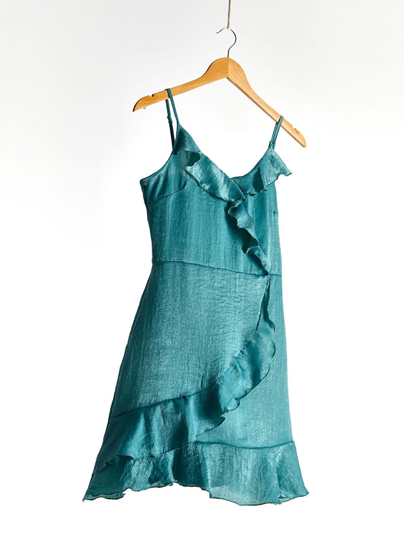 Yeşil Askılı Fırfır Detaylı Elbise 0SV791Z8 LC Waikiki