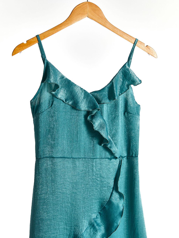 %100 Polyester %100 Polyester Orta Kalınlık Düz Parti Askılı Elbise Askılı Fırfır Detaylı Elbise