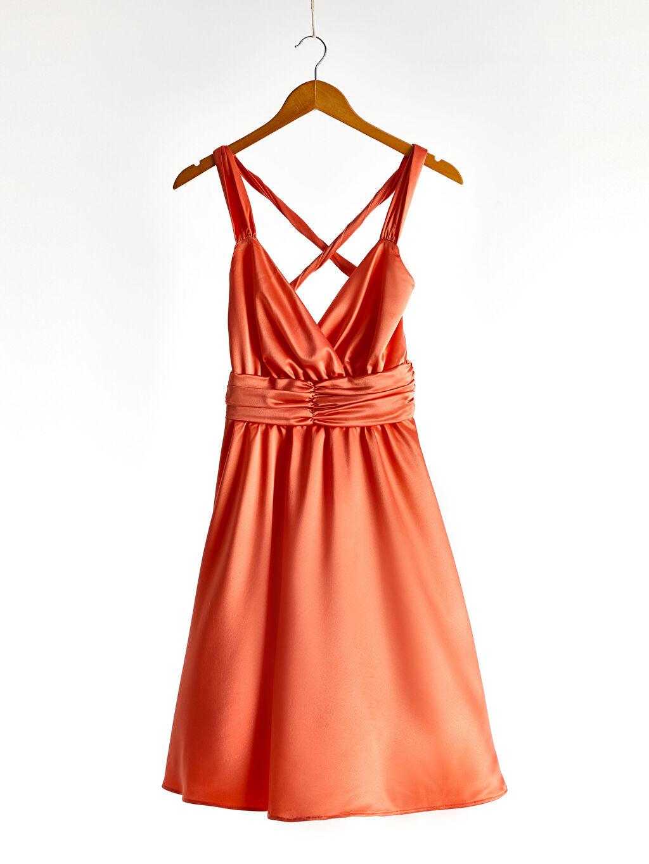 0SV793Z8 Kruvaze Yaka Sırt Detaylı Saten Kloş Elbise