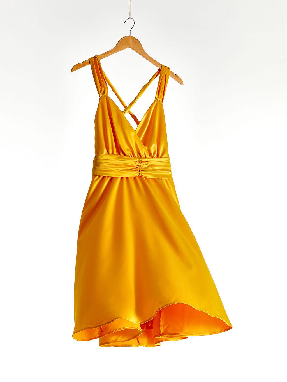 Sarı Kruvaze Yaka Sırt Detaylı Saten Kloş Elbise