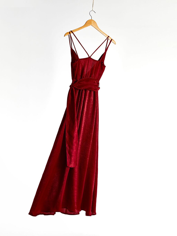 %100 Polyester %100 Polyester Orta Kalınlık Düz Düğün/Nikah Askılı Elbise Kruvaze Yaka Kuşaklı Sırt Detaylı Elbise
