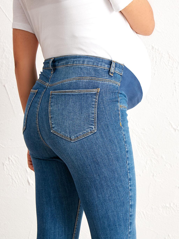 %90 Pamuk %8 Polyester %2 Elastan Hamile Skinny Jean Pantolon