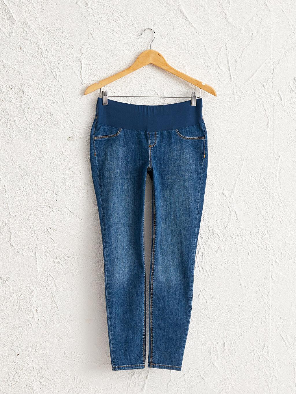 %90 Pamuk %8 Polyester %2 Elastan Bilek Boy Skinny Günlük Jean Orta Kalınlık Hamile Skinny Jean Pantolon