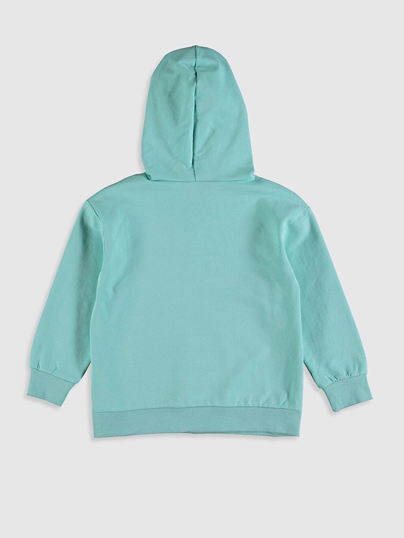 %83 Pamuk %17 Polyester Sweatshirt Kız Çocuk Yazı Baskılı Kapüşonlu Sweatshirt