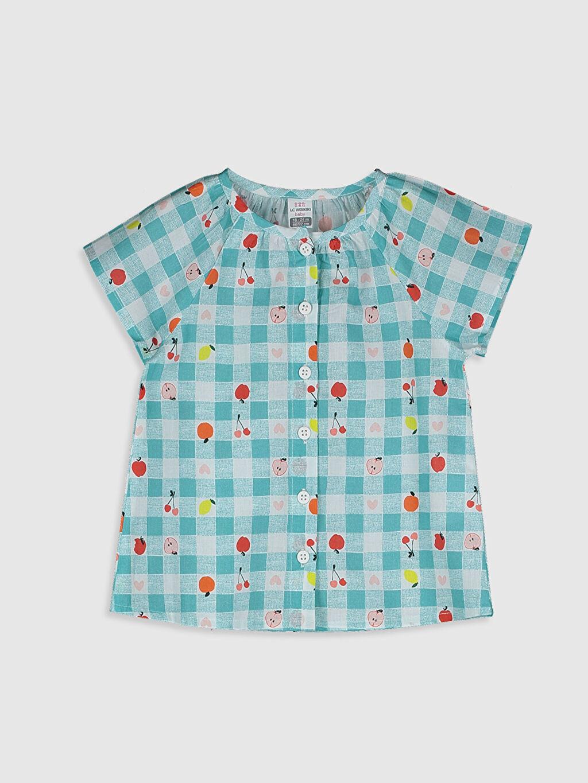Mavi Kız Bebek Baskılı Pamuklu Gömlek 0SY169Z1 LC Waikiki