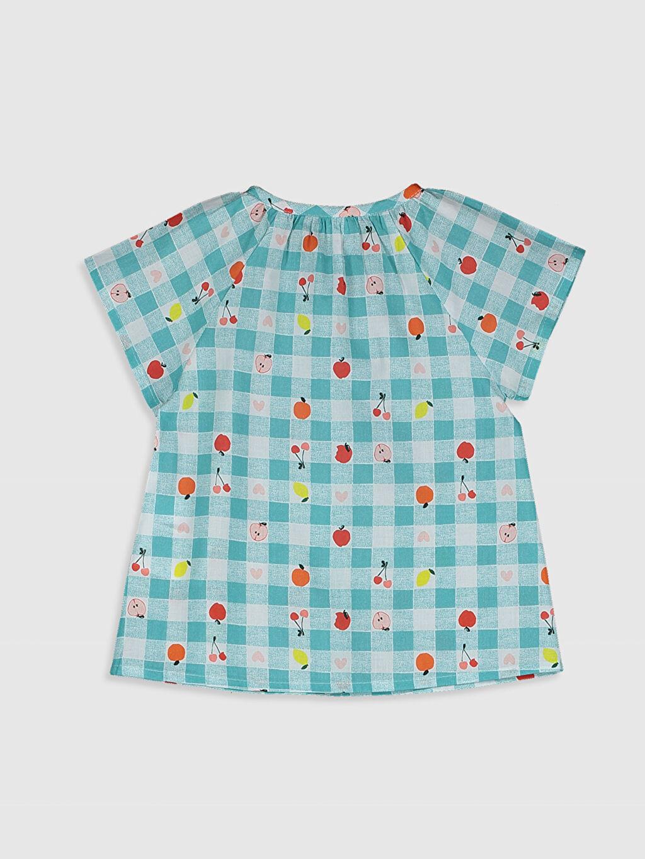 %100 Pamuk Gömlek Bebe Yaka Baskılı Günlük Standart Kız Bebek Baskılı Pamuklu Gömlek