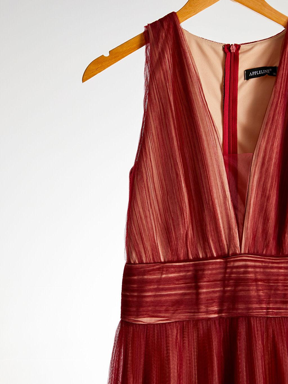 %100 Polyester Appleline V Yaka Tül Elbise