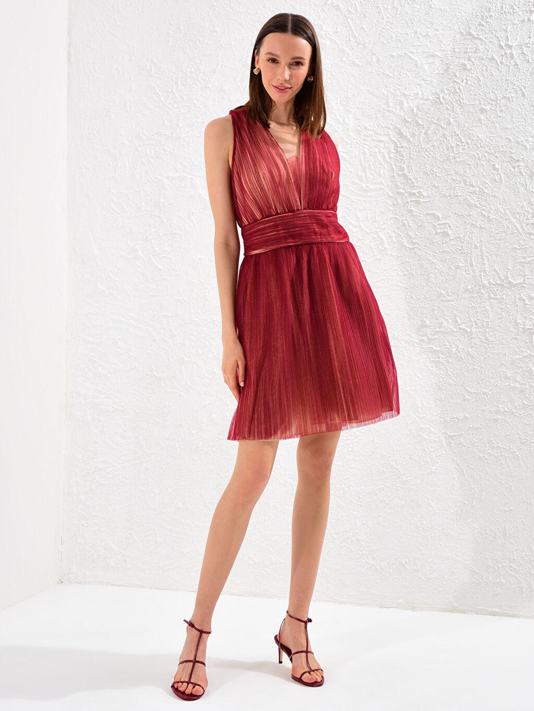%100 Polyester %100 Polyester Kolsuz Düz Elbise Parti Appleline V Yaka Tül Elbise
