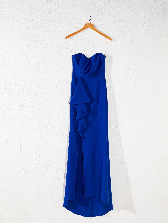 Mavi Appleline Fırfır Detaylı Straplez Abiye Elbise 0SAA01Z8 LC Waikiki