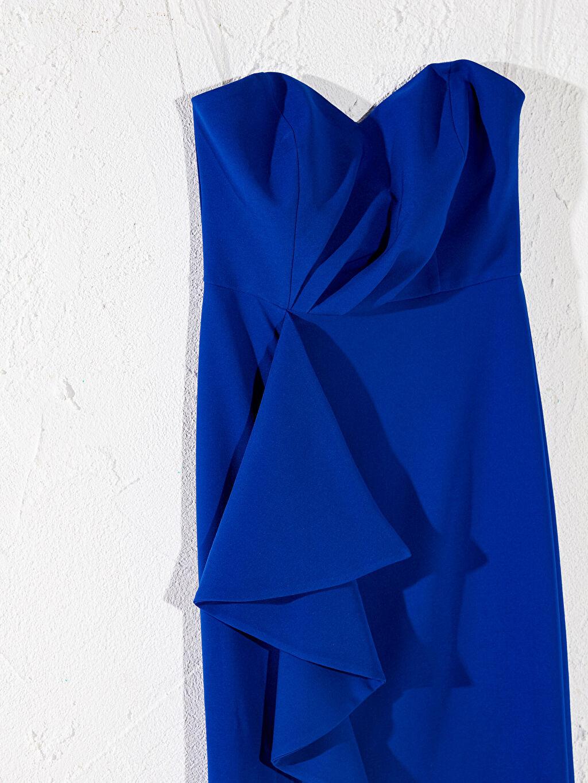 Kadın Appleline Fırfır Detaylı Straplez Abiye Elbise