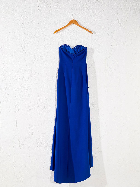 Mavi Appleline Fırfır Detaylı Straplez Abiye Elbise