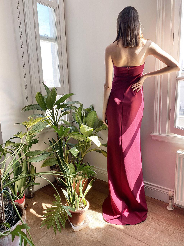%95 Polyester %5 Elastan Appleline Fırfır Detaylı Straplez Abiye Elbise